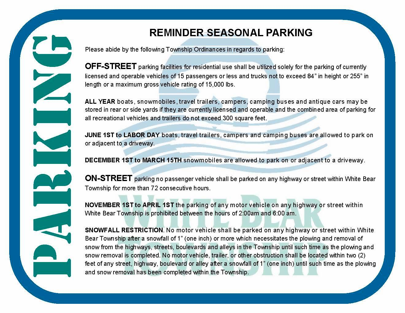 Seasonal Parking Regulations